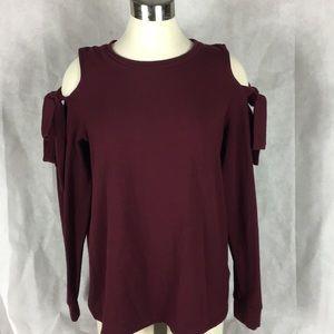 Pleione Burgundy cold shoulder sweatshirt sz med